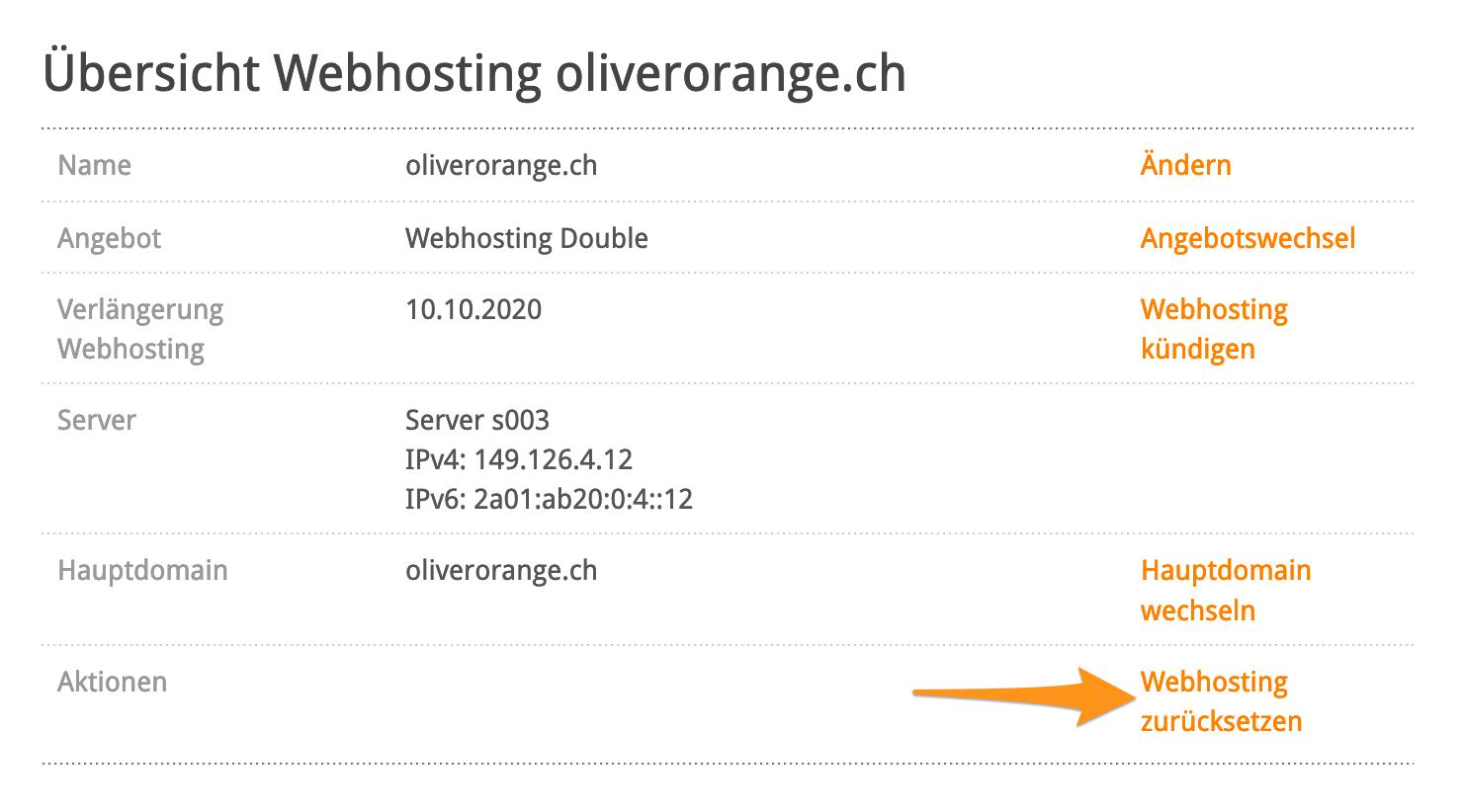 Aktion «Webhosting zurücksetzen»