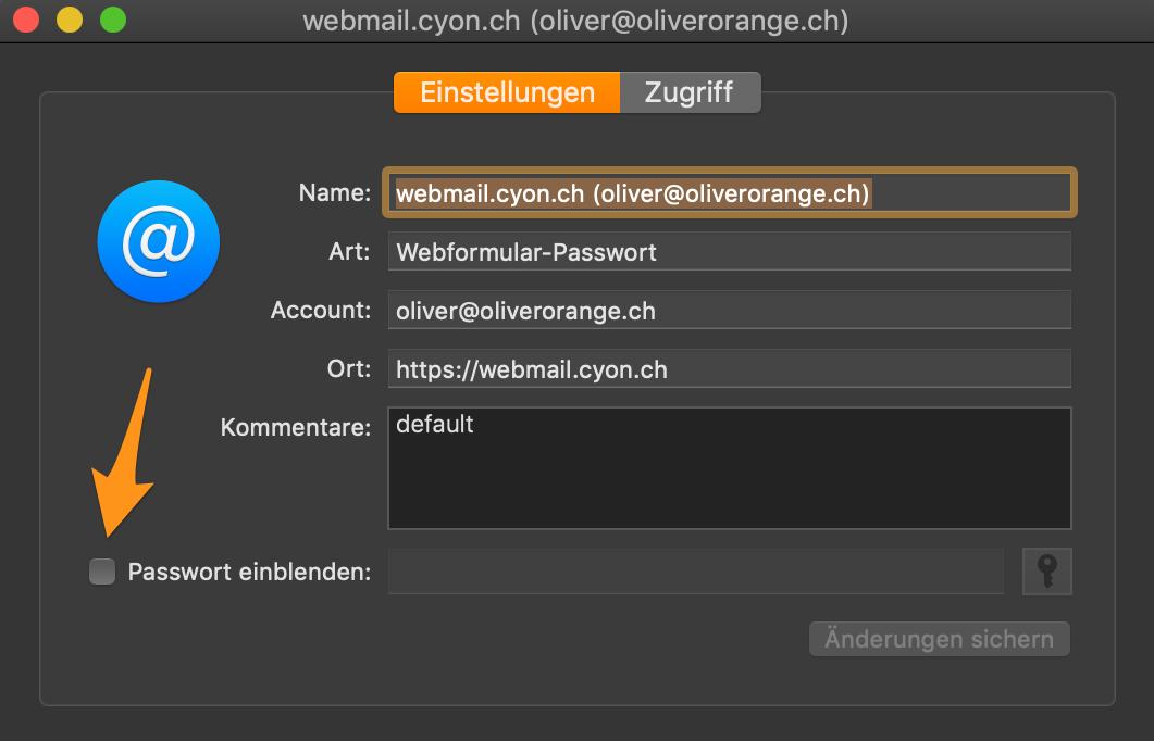 Option «Passwort einblenden» aktivieren