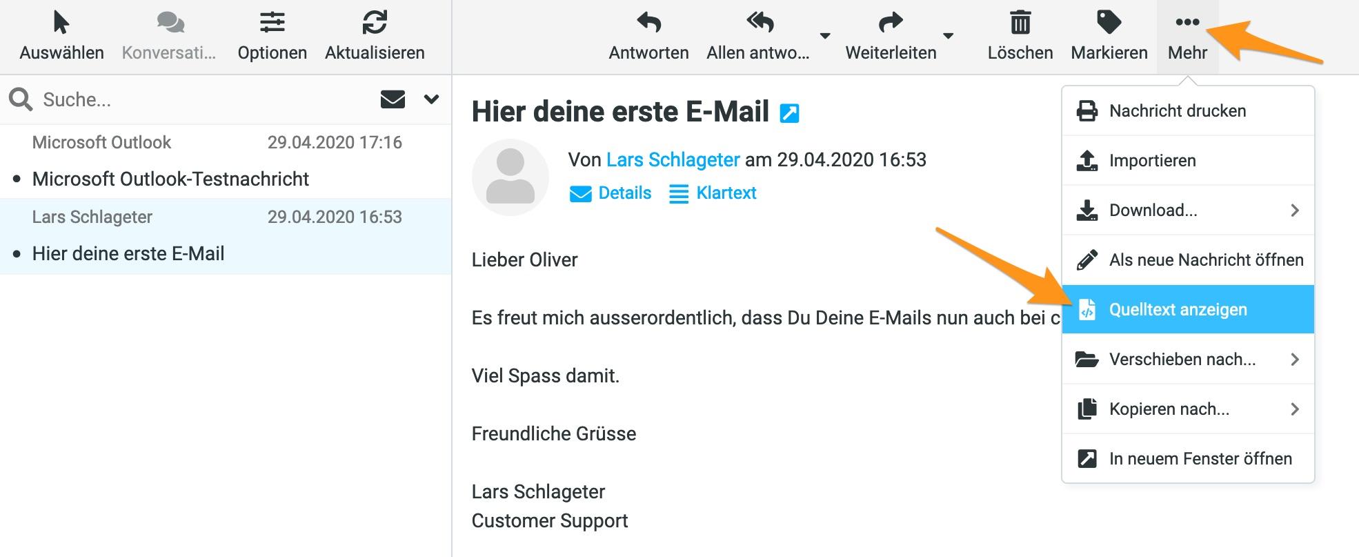 Header-Informationen anzeigen im Webmail