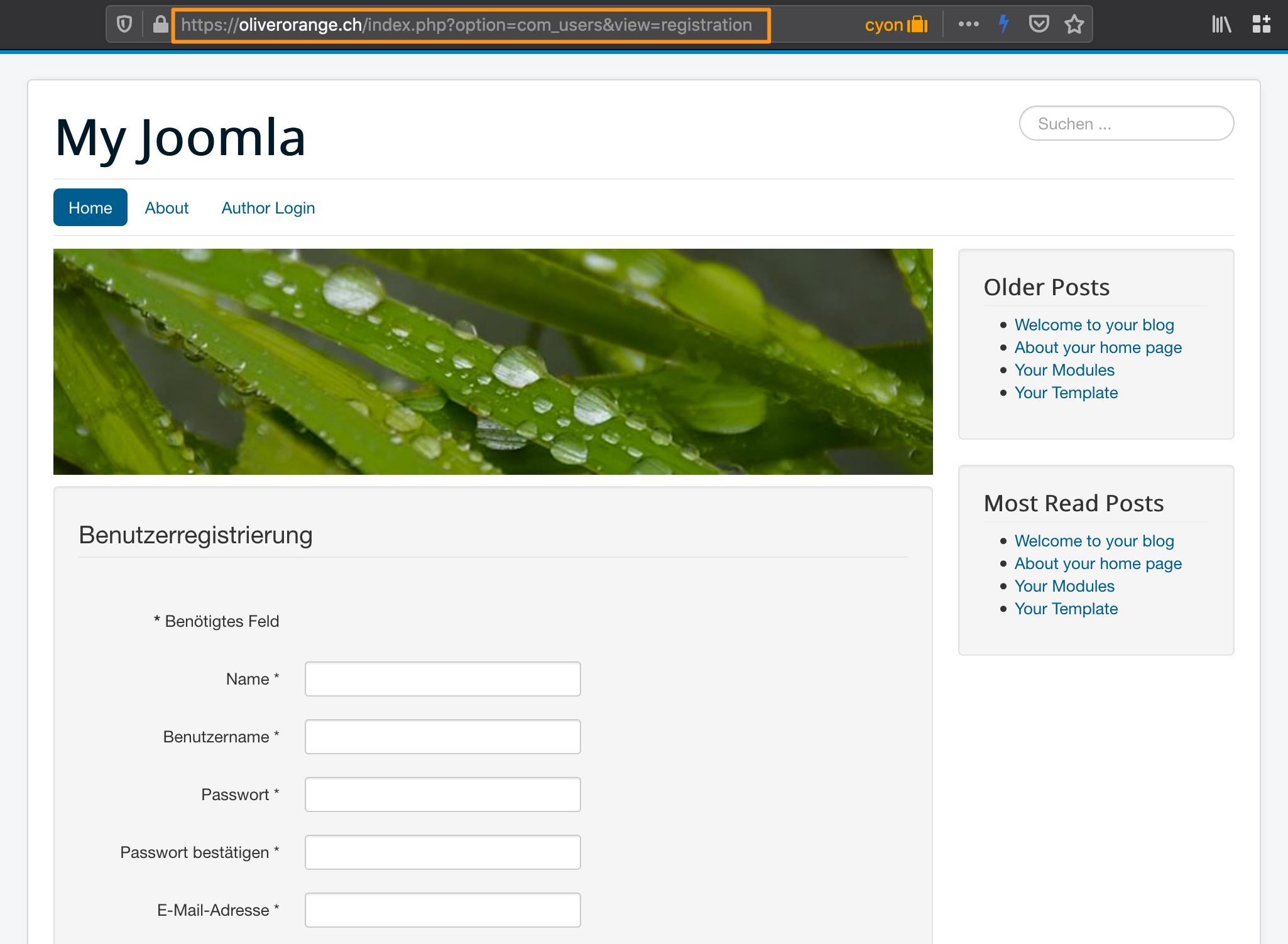 Formular zur Benutzerregistrierung in Joomla