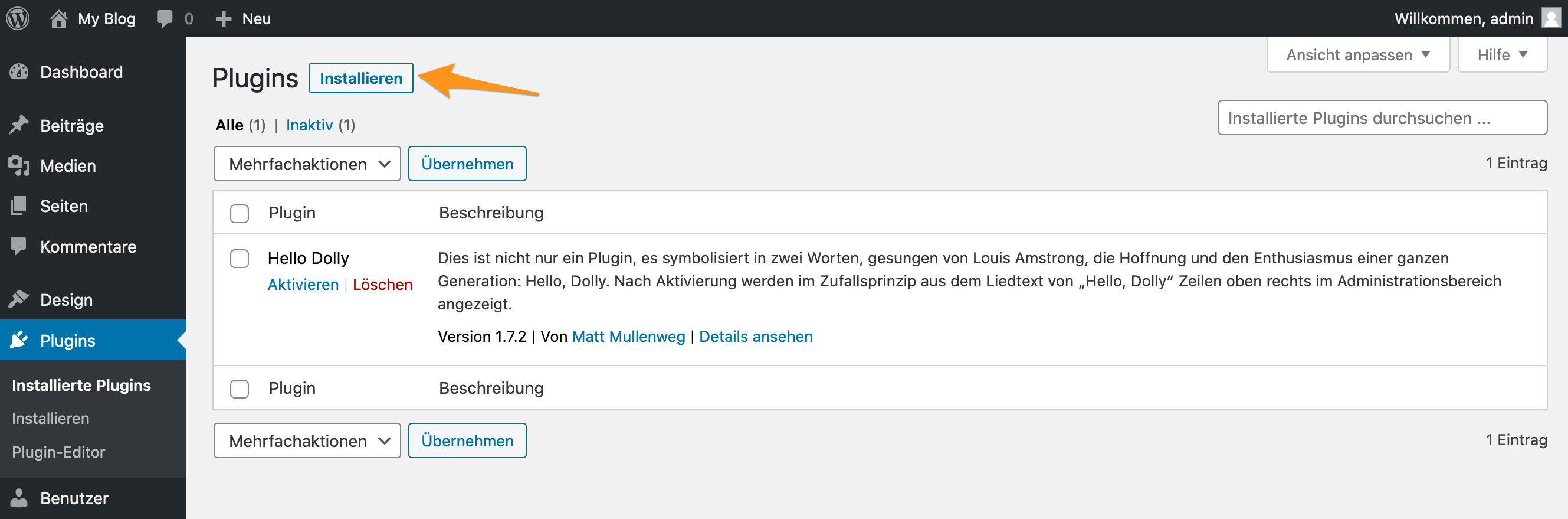 Seite «Plugins» im WordPress-Backend
