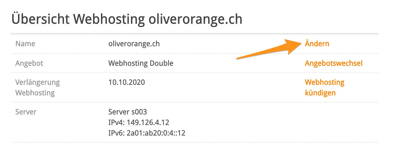 Übersicht Webhosting