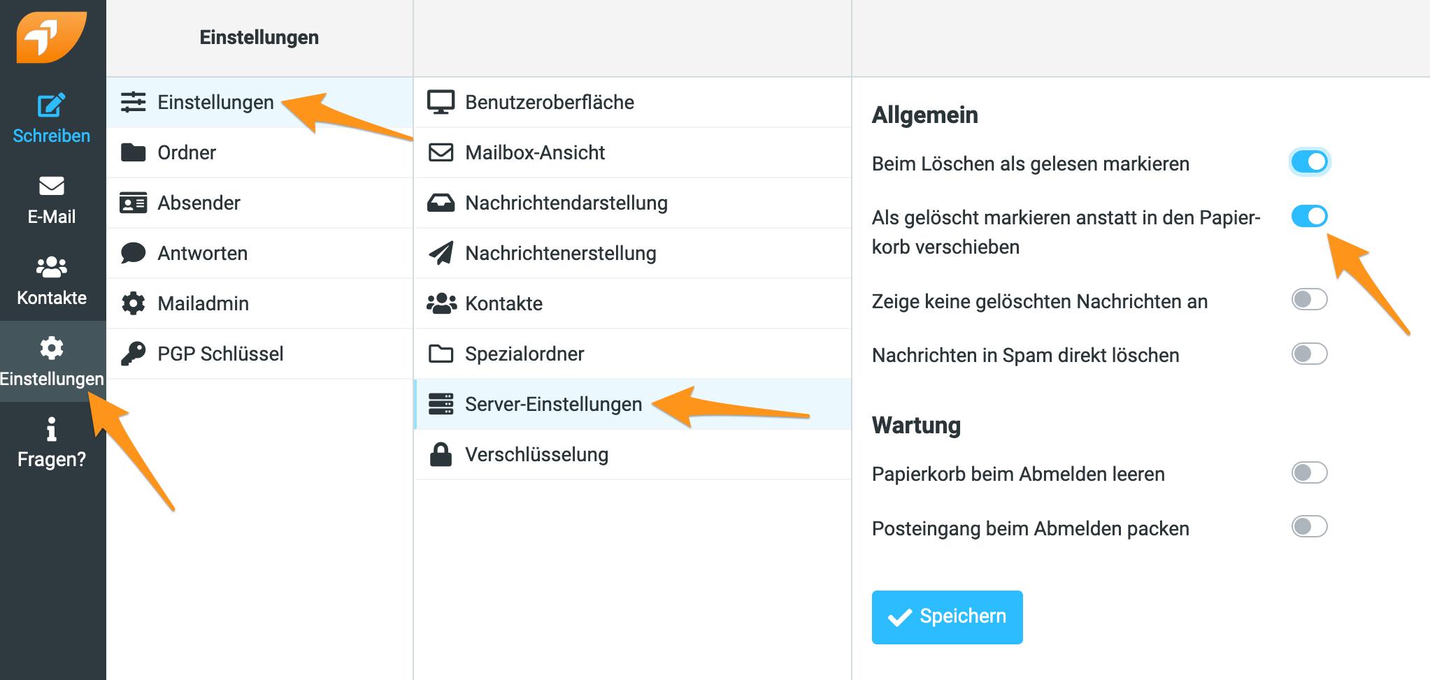 Option «Als gelöscht markieren anstatt in den Papierkorb verschieben» im Webmail