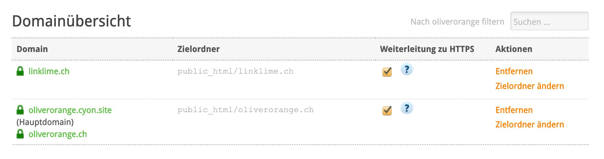 Domainübersicht im my.cyon