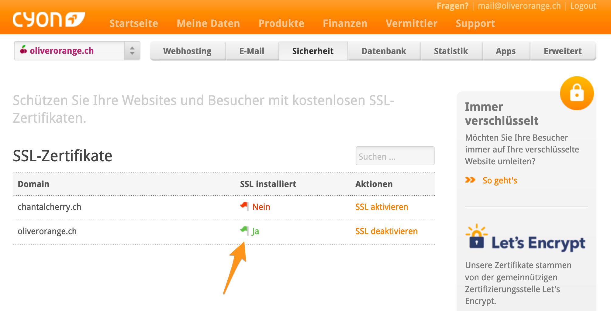 Übersicht der aktiven SSL-Zertifkate im my.cyon