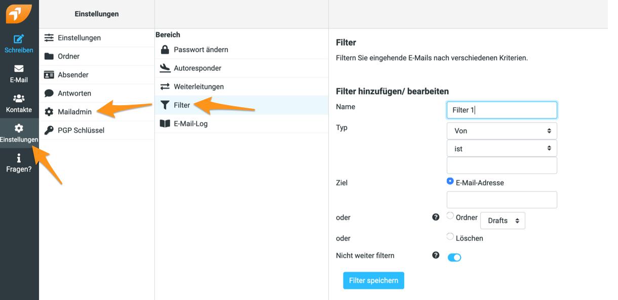 Filter im Webmail erstellen