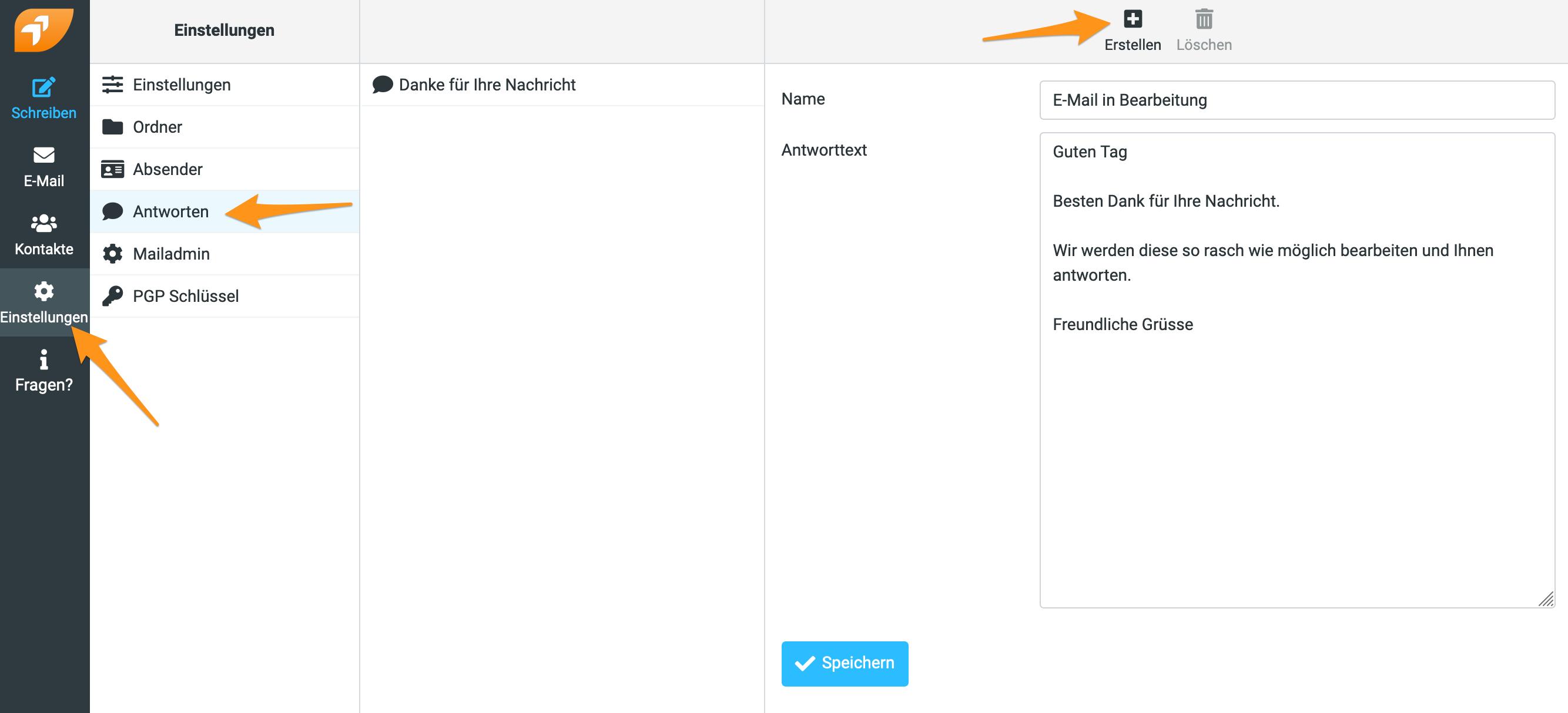 Standardantwort im Webmail erstellen