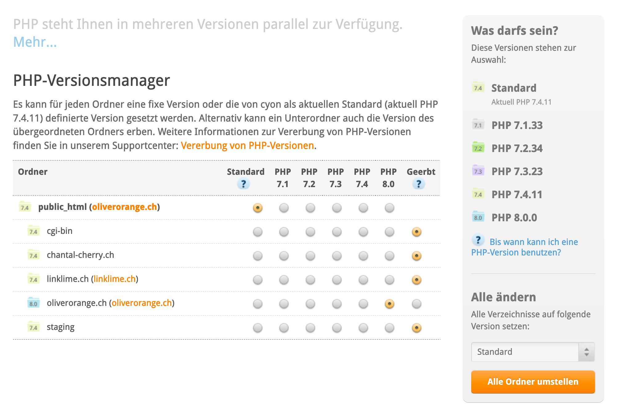 PHP-Versionsmanager im my.cyon
