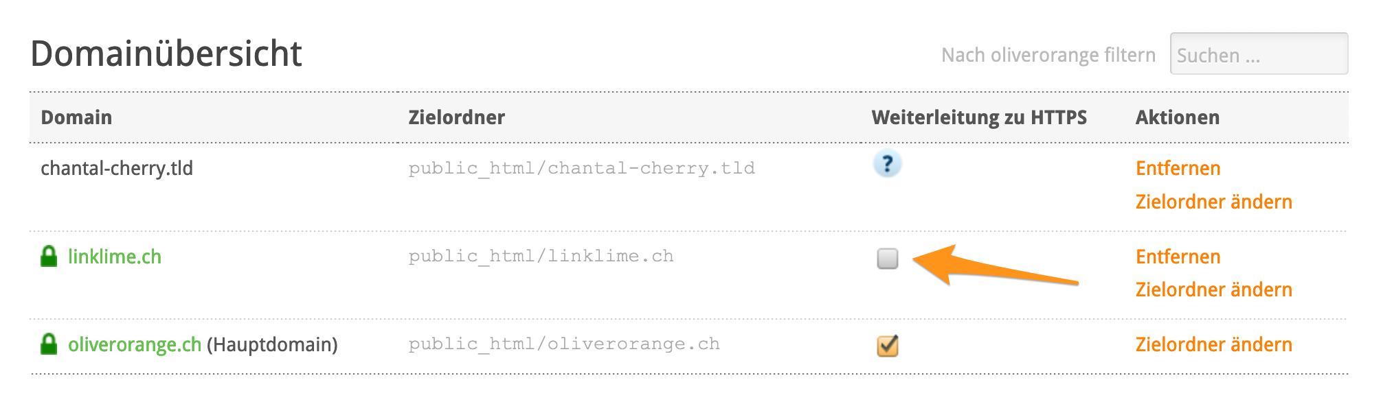 «Weiterleitung zu HTTPS» aktivieren