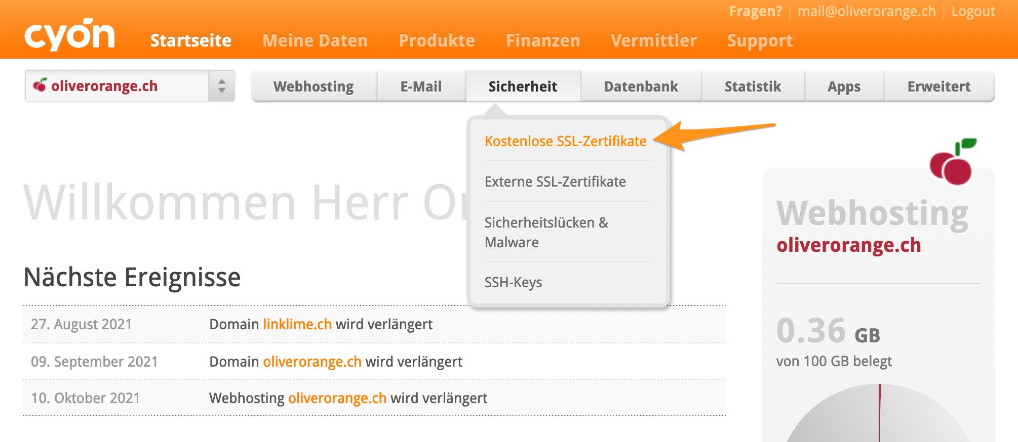 Menü «Kostenlose SSL-Zertifikate» im my.cyon