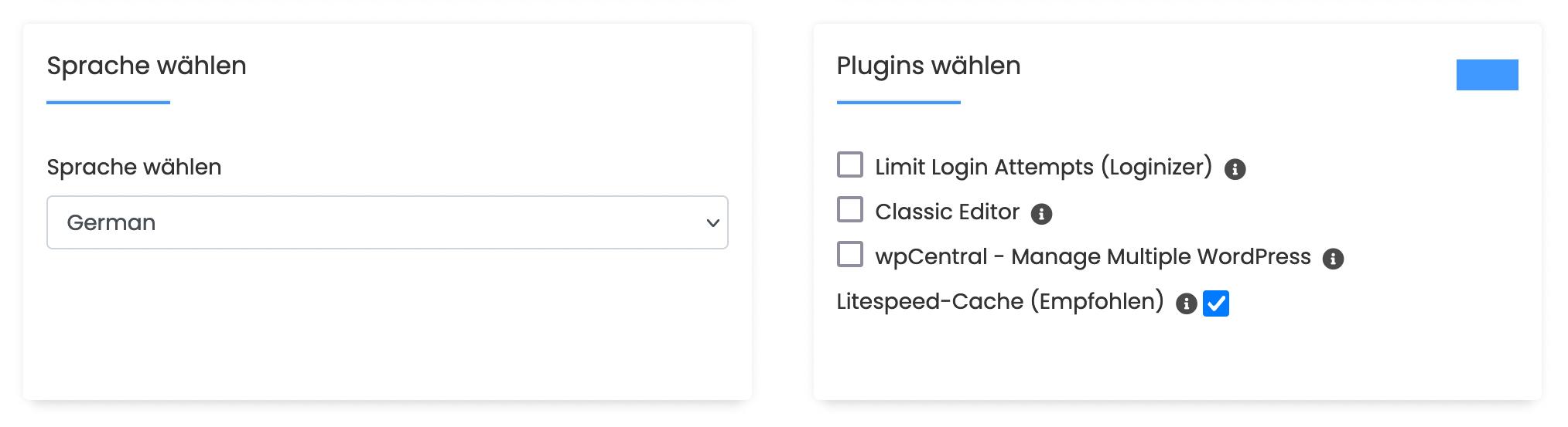 Sprache-/Plugins wählen
