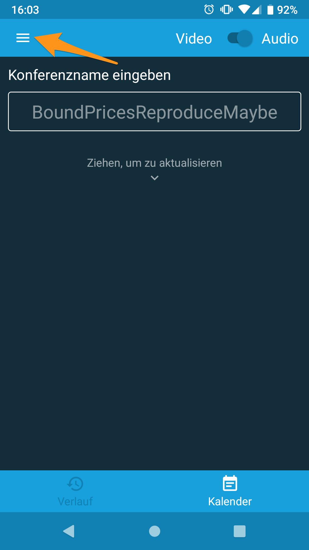 Jitsi-Mobile-App starten und Hauptmenü öffnen