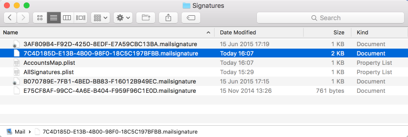 Find your HTML signature in Apple mail
