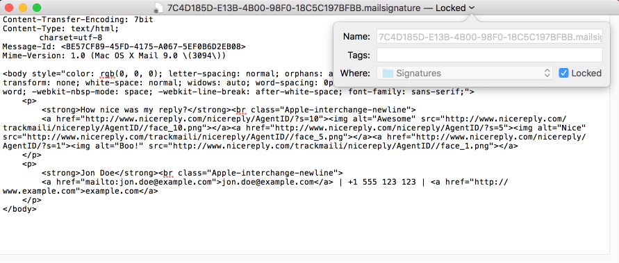 Lock your HTML signature in Apple mail