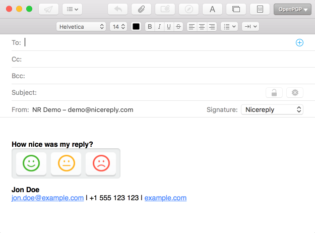 HTML signature in Apple mail with CSAT
