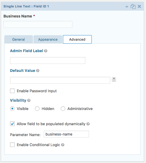 Single Line Text Field: Business Name