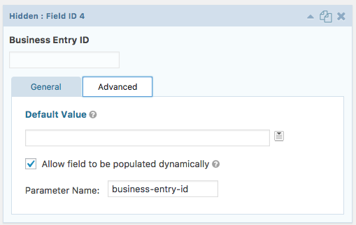 Hidden Field for the Business Entry ID