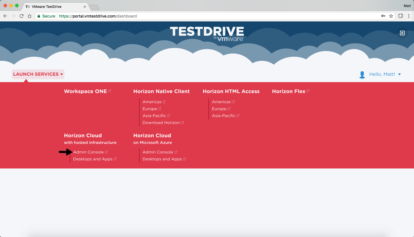 Accessing the Horizon Cloud on Hosted Infrastructure