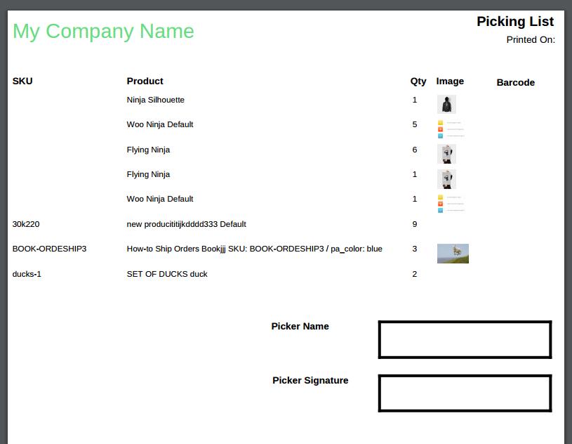 picking list template
