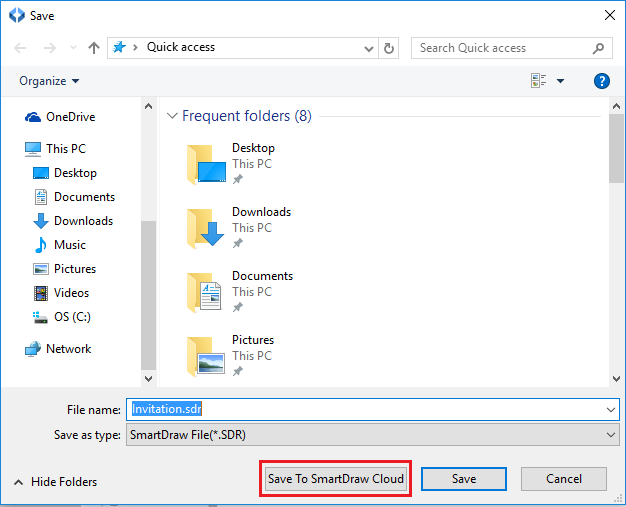 Upload (Save) Files to SmartDraw from SmartDraw for Windows