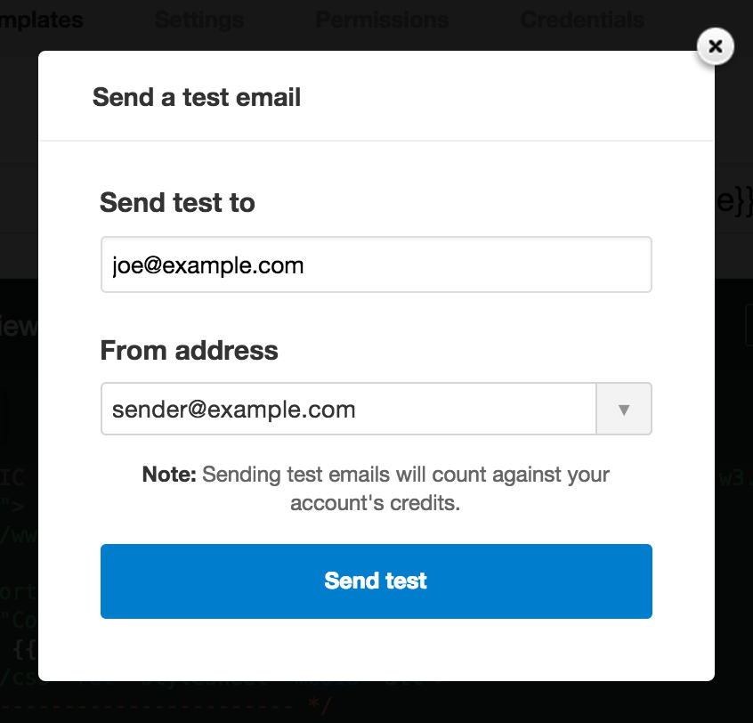 Send a test email modal window