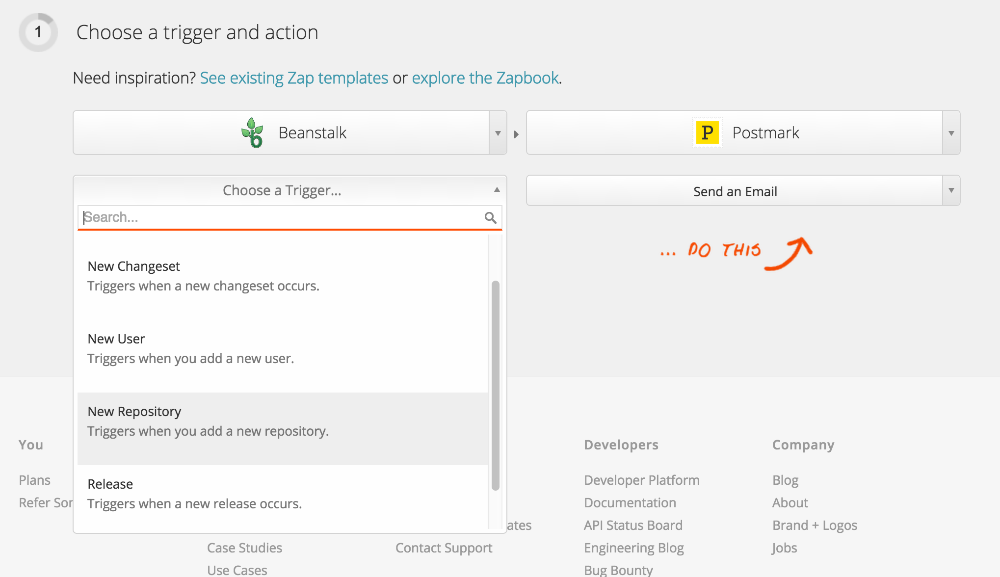 "Select ""Send an Email"" action for Postmark"