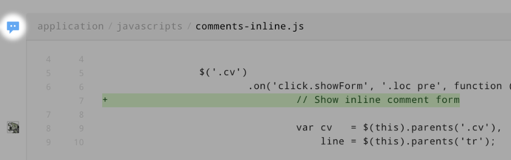 Changeset page: comment indicator near code viewer