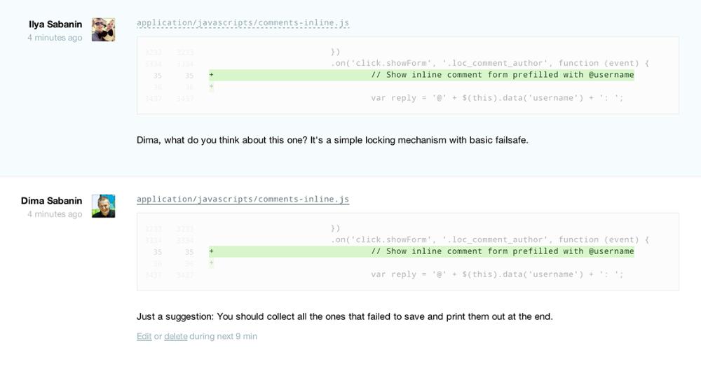 Changeset page: inline comments transcript