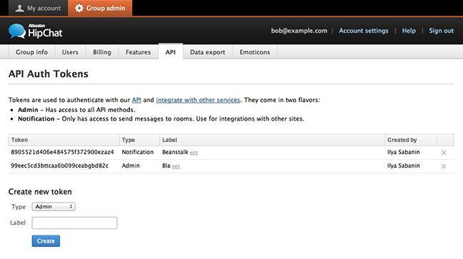 HipChat API page