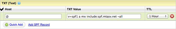 Adding the SPF record