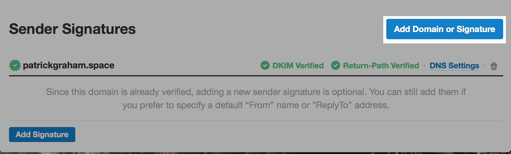 Add Domain or Signature button