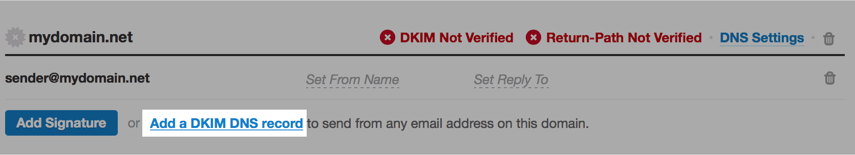 Link for adding a DKIM DNS record