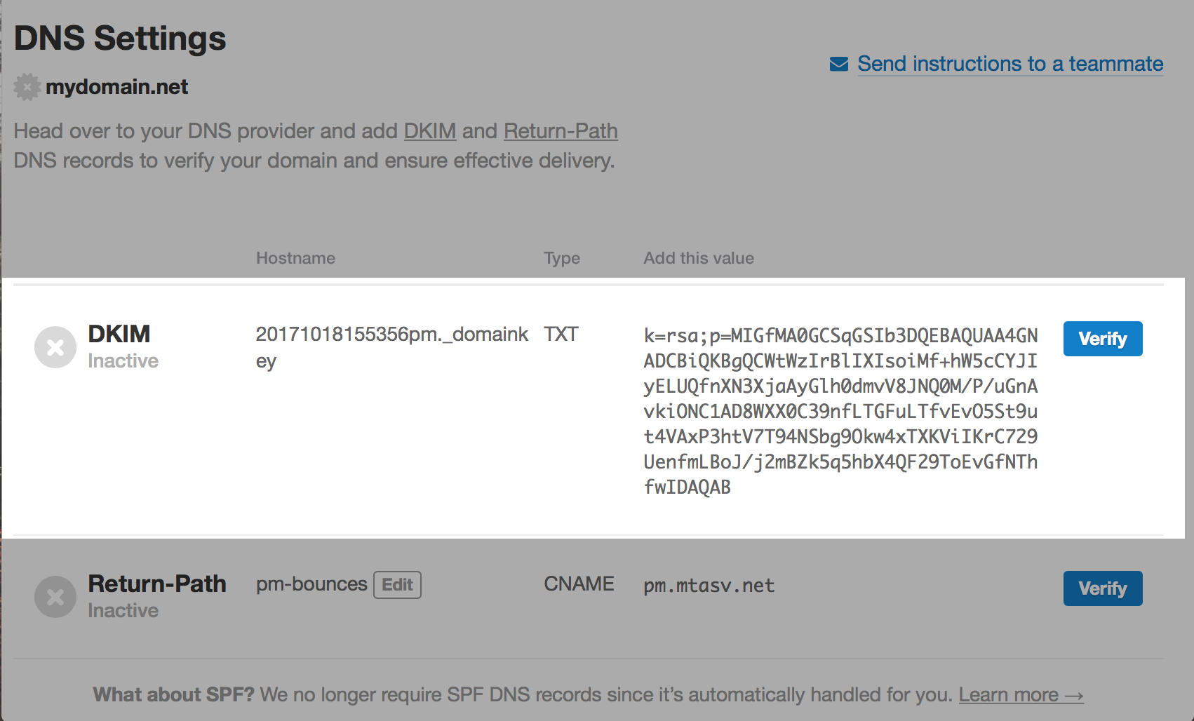 DKIM DNS record