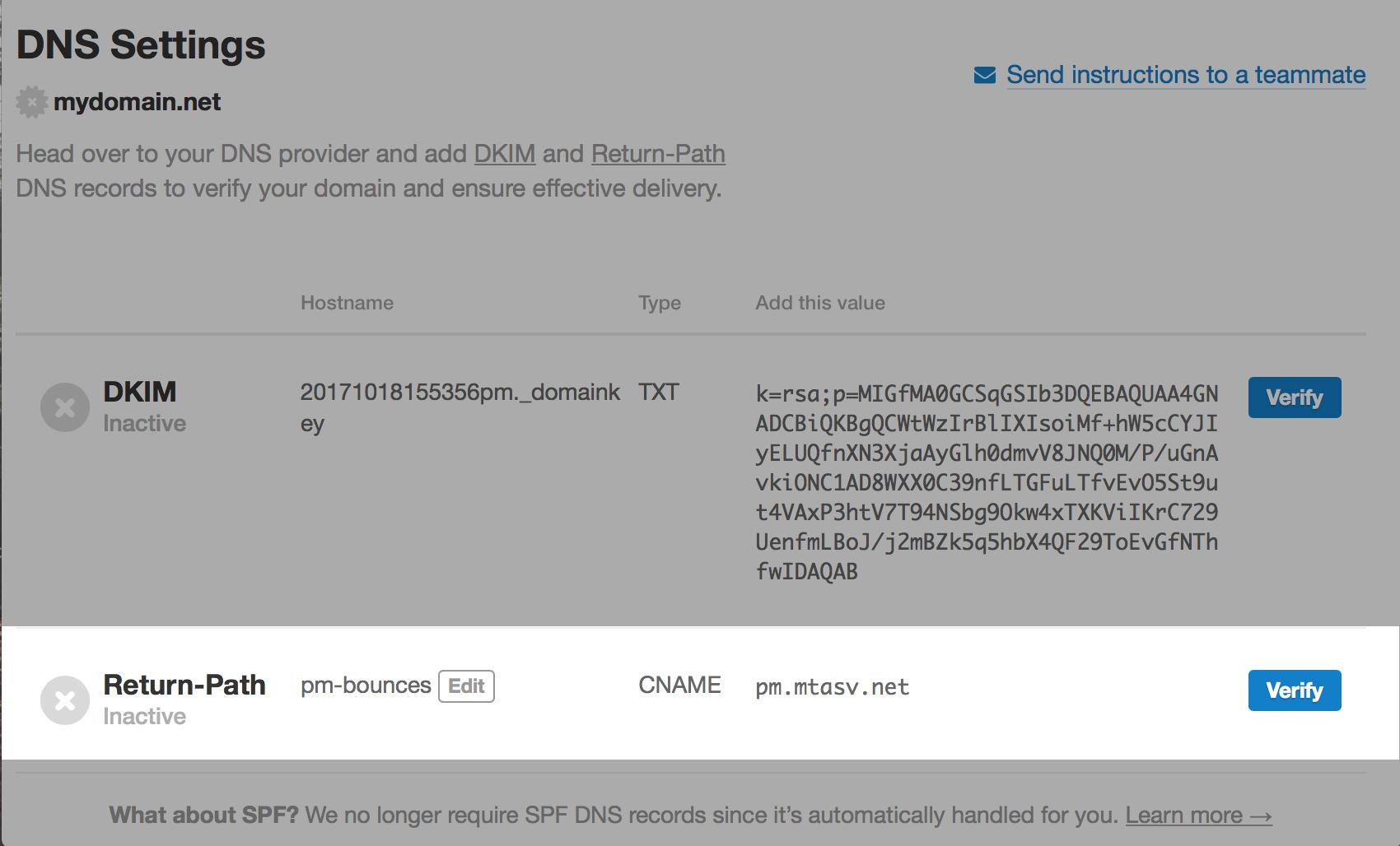 Return-Path DNS record