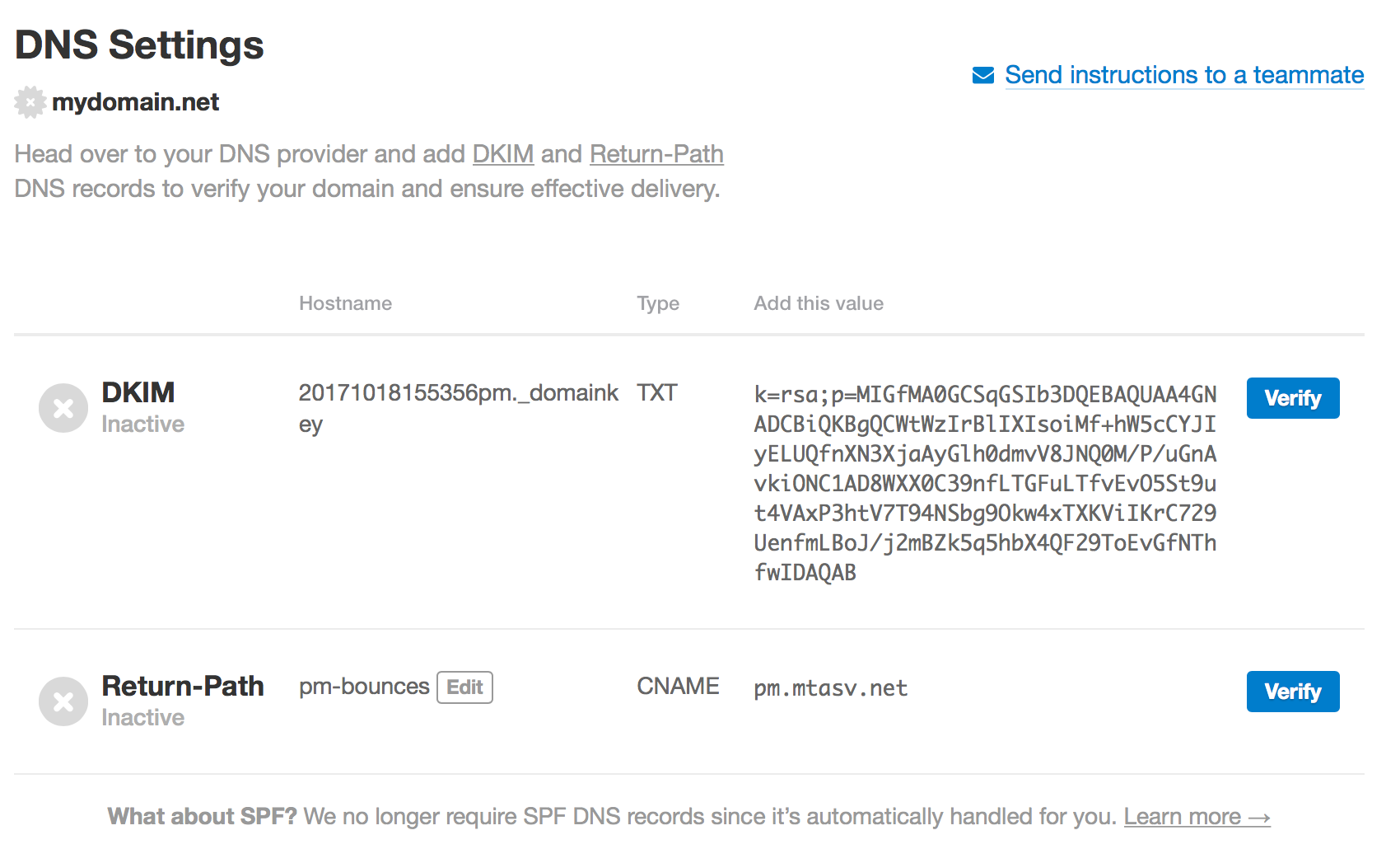 Records for DKIM and Return-Path