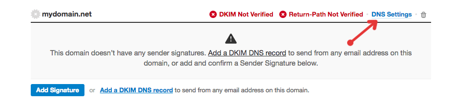 Link to DNS Settings page in Postmark