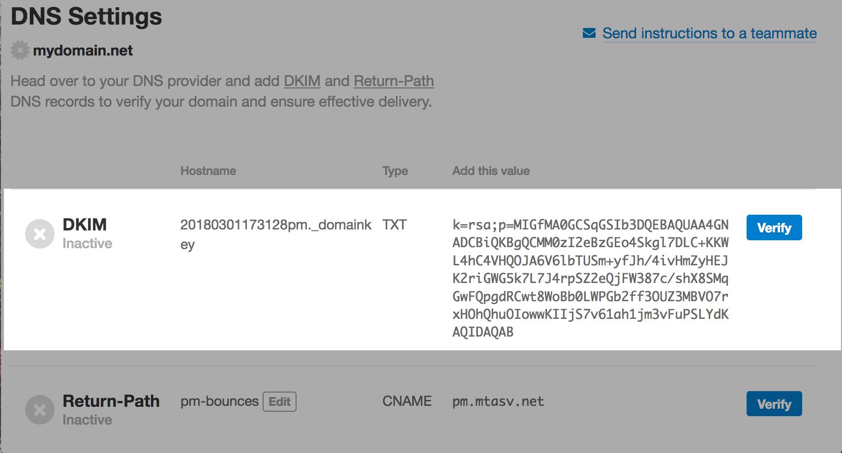 Inactive DKIM record