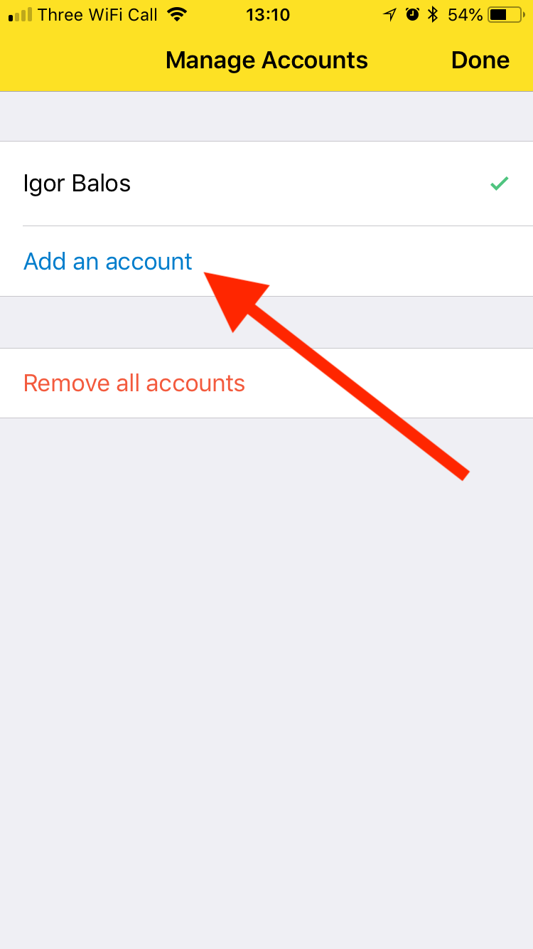 "Tap the ""Add an account"" button"