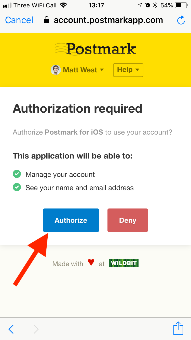 Authorize the Postmark app