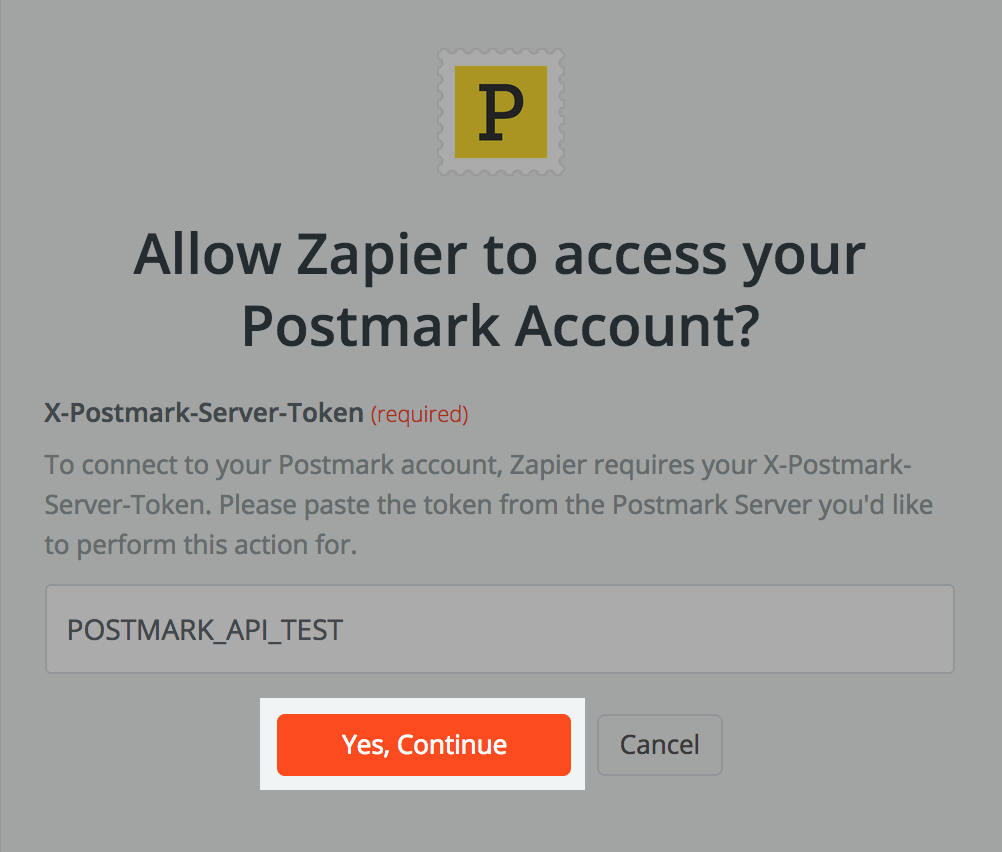 Allow Zapier to access your Postmark account