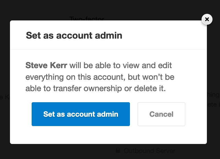 Set user as account admin