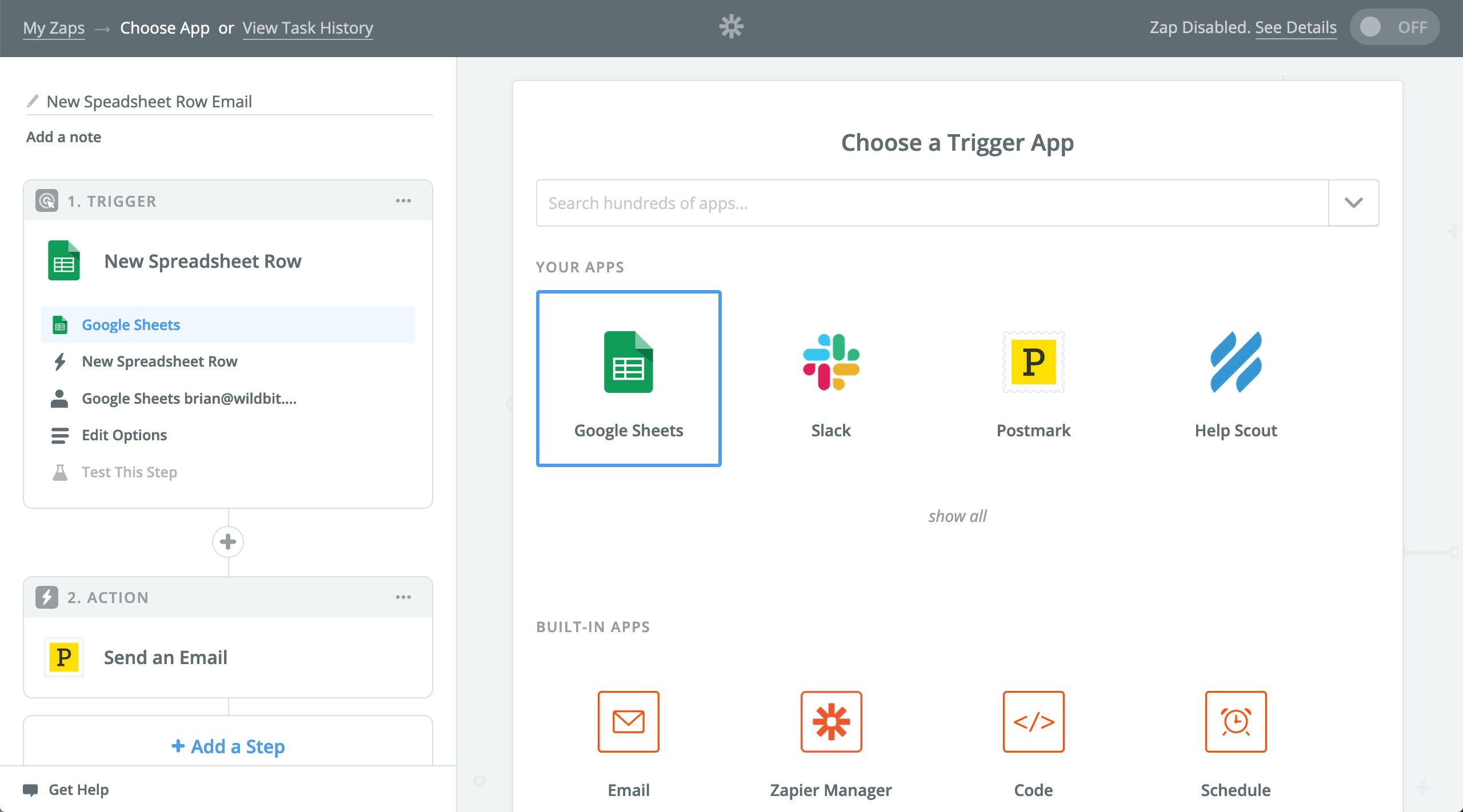 Choose Google Sheets as a Trigger App