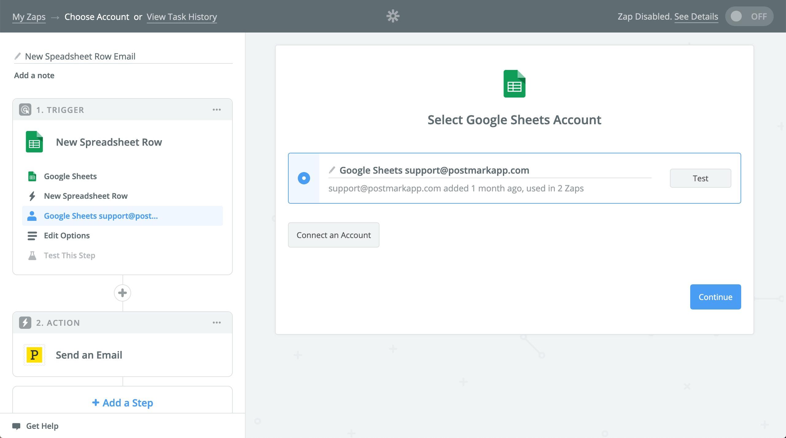 Select Google Sheets account