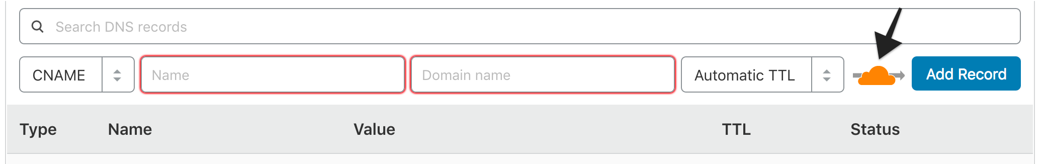 Click on the orange cloud to disable Cloudflare on the CNAME record