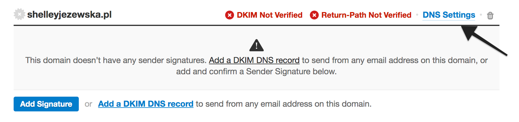 Link to DNS Settings page