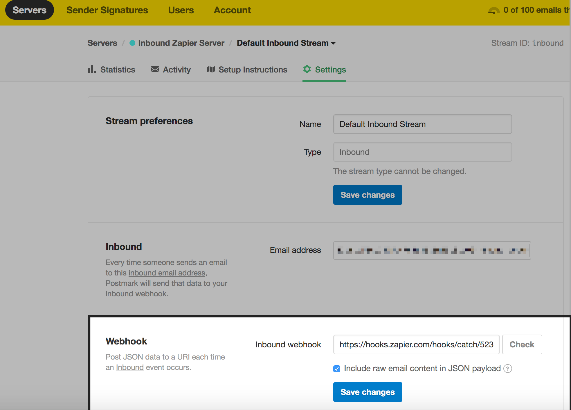 Add Zapier webhook URL to your Postmark Inbound webhook