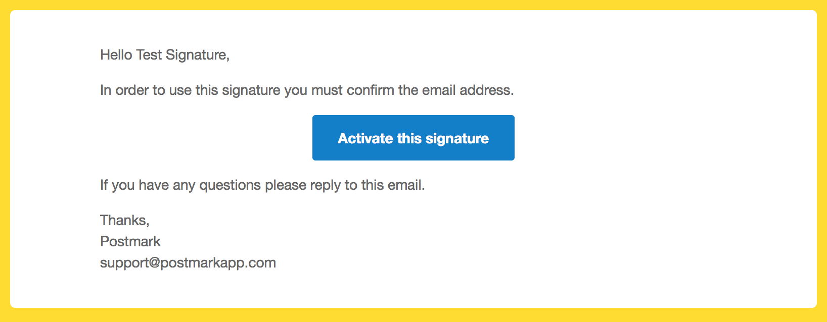 Confirm email address to activate Sender Signature