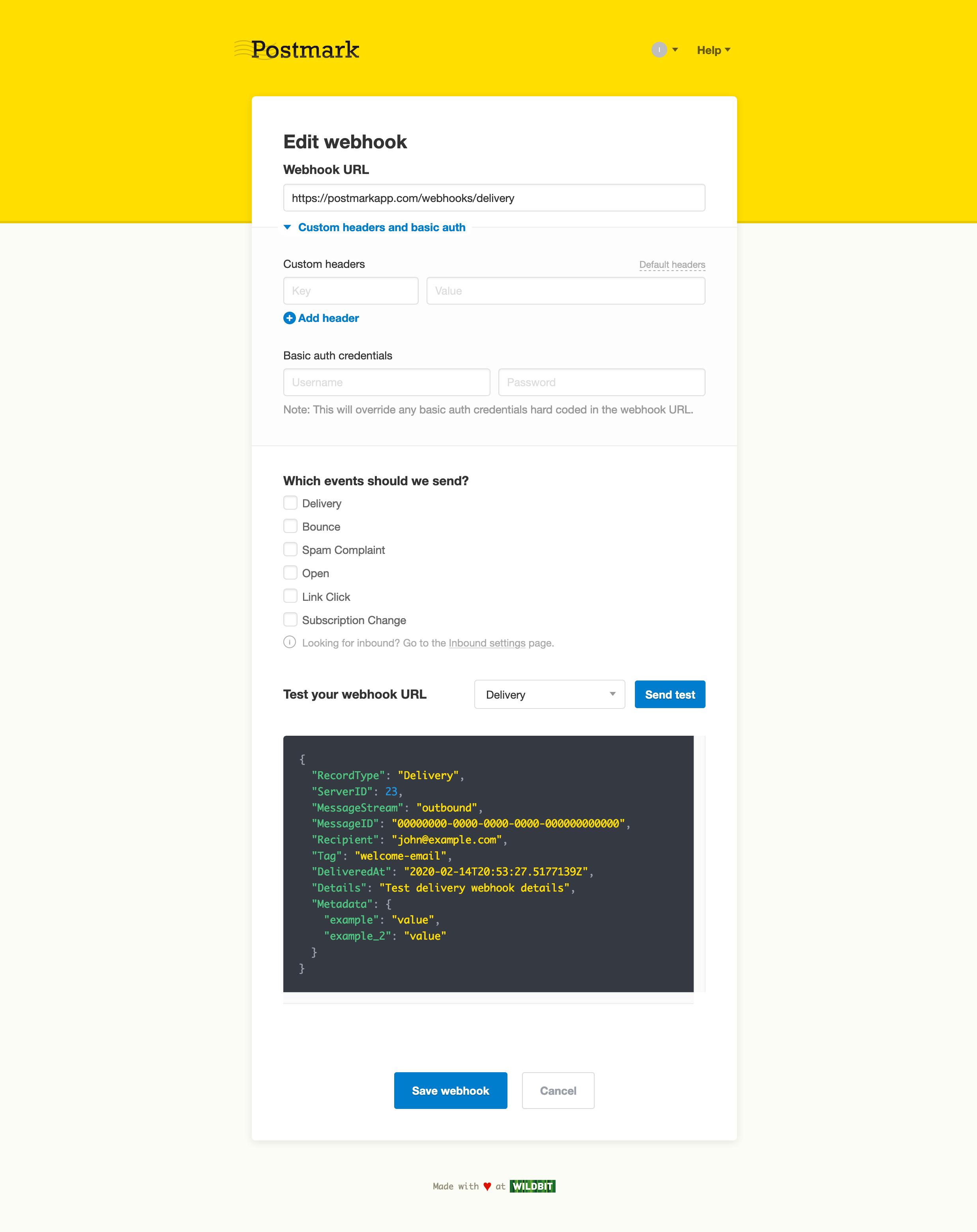 Edit webhook screen