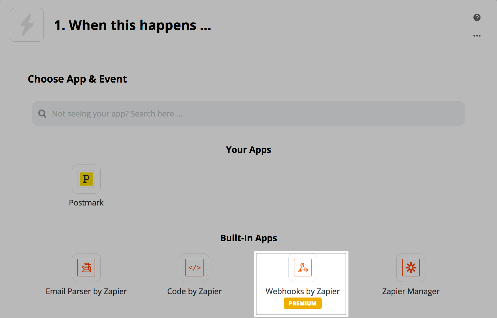 "Select ""Webhooks by Zapier"""