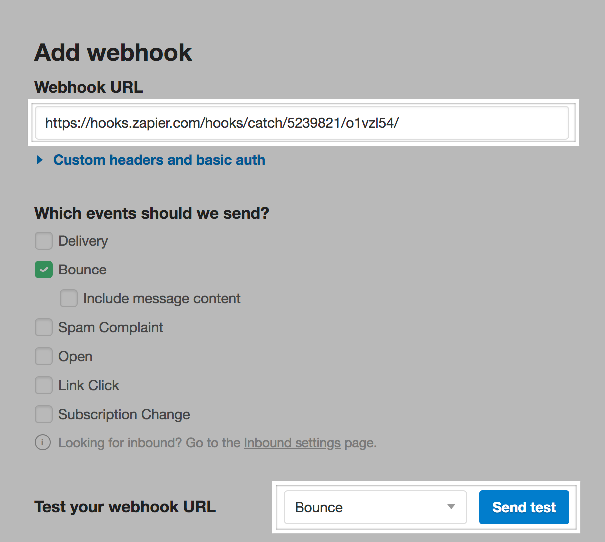 Paste the URL into the Webhook URL field